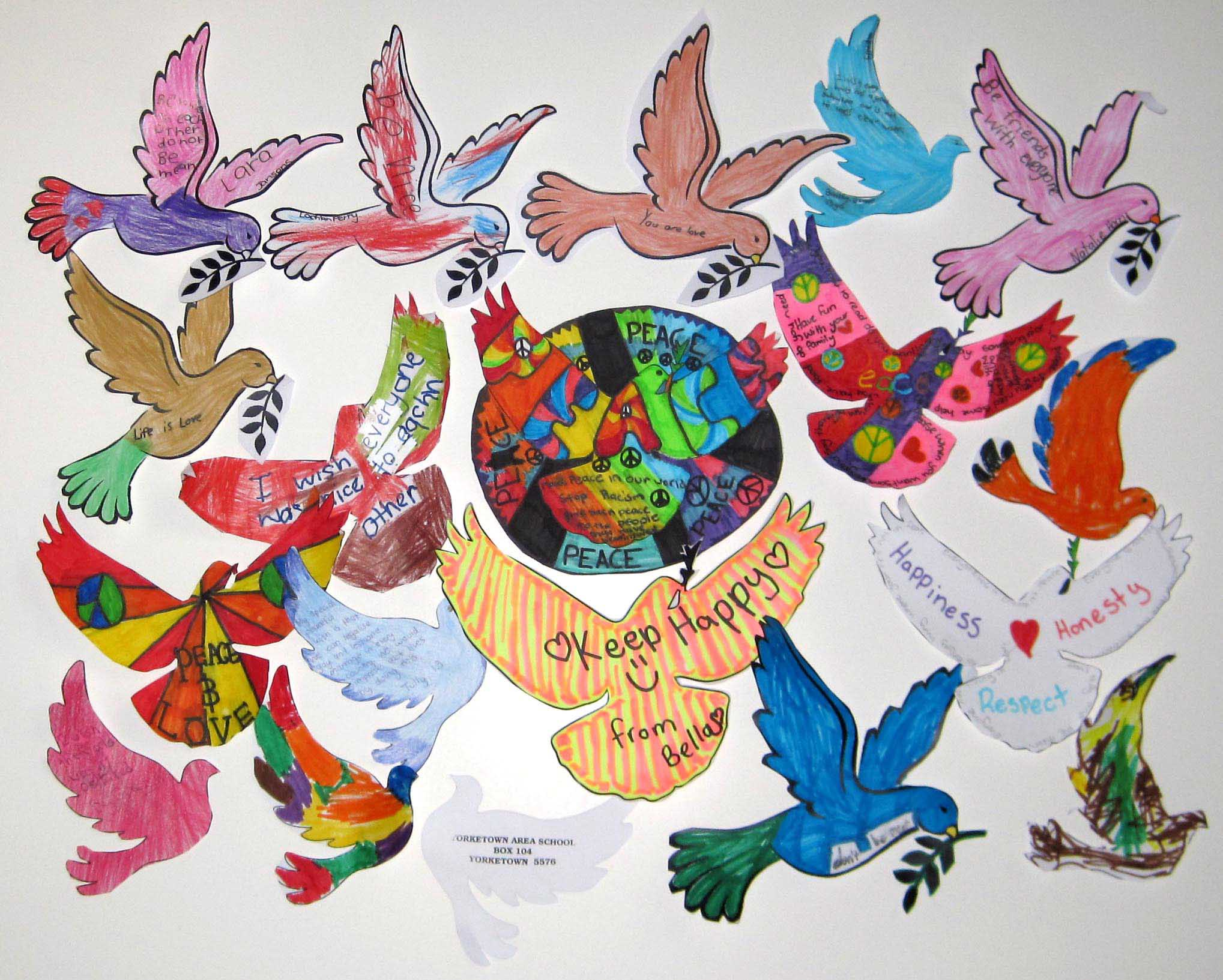 Peace messages from Yorketown Area School